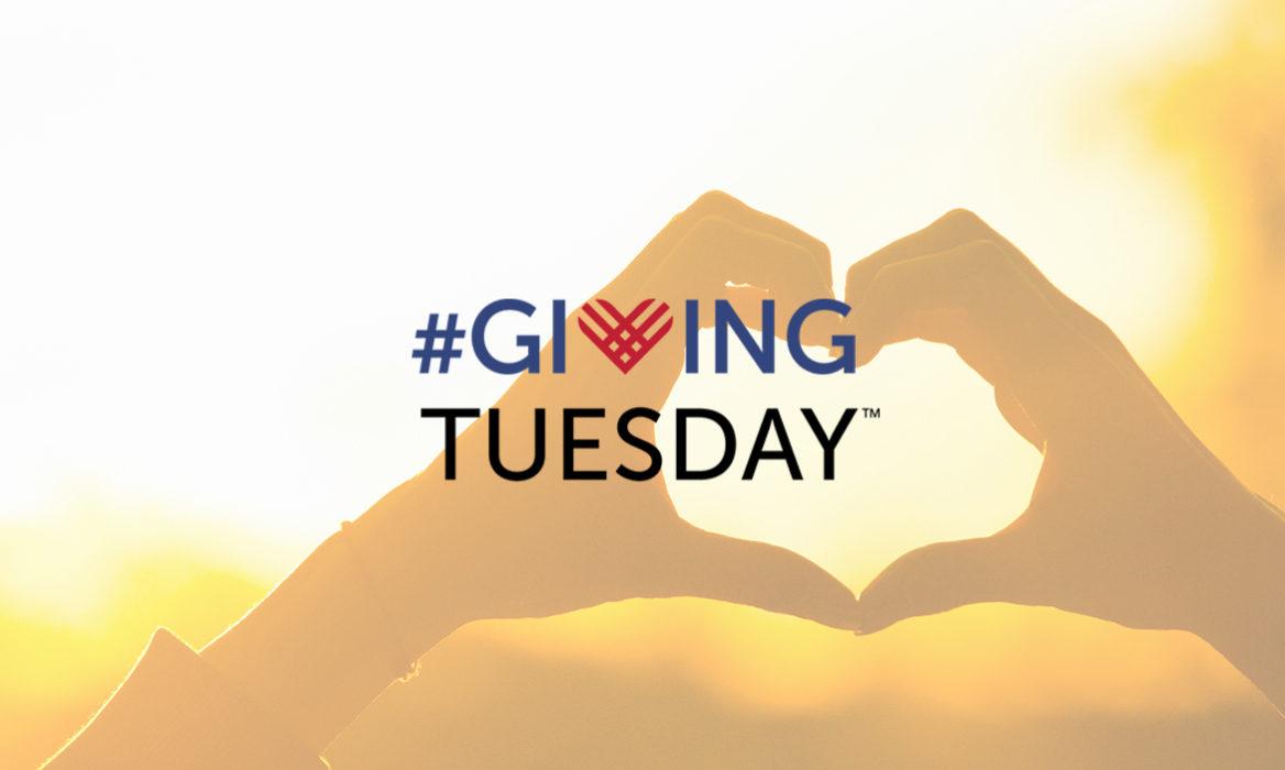 Heart shaped hands, golden sunlight, hashtag giving tuesday logo